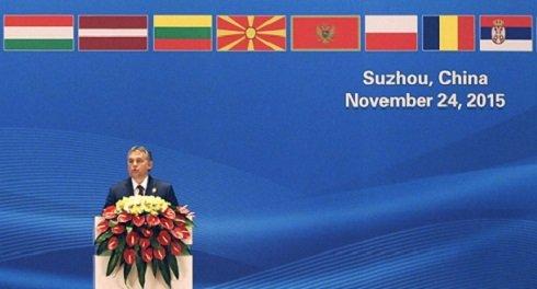 Szucsou, 2015. november 24. Orbán Viktor miniszterelnök beszédet mond Kína és a kelet-közép-európai országok (KKE) állami vezetõinek csúcstalálkozóján a dél-kínai Szucsouban 2015. november 24-én. MTI Fotó: Trebitsch Péter