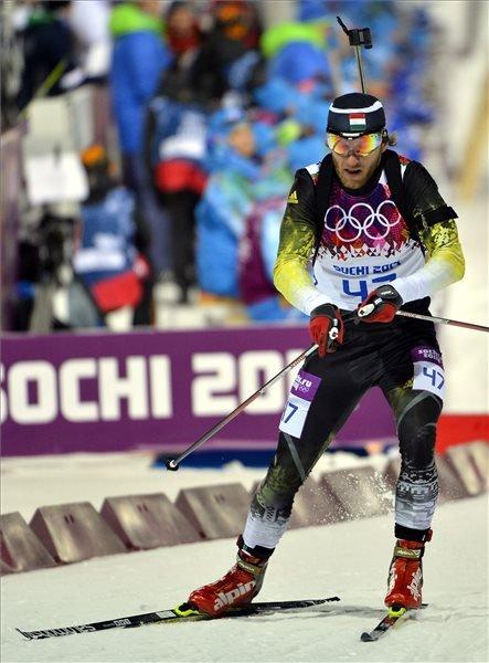 Krasznaja Poljana, 2014. február 8. Gombos Károly versenyez a sílövők férfi 10 kilométeres sprintszámában a szocsi téli olimpián Krasznaja Poljanában, a Laura Sífutóközpontban 2014. február 8-án. Gombos a 79. helyen végzett. MTI Fotó: Illyés Tibor